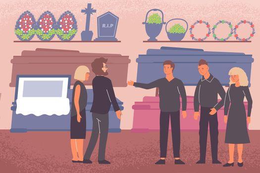 Funeral Shop Flat Composition