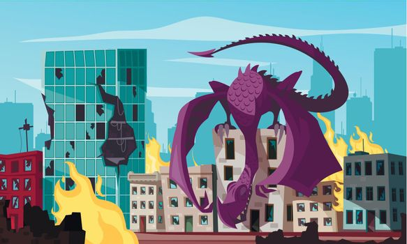 Monster Attacking City Illustration