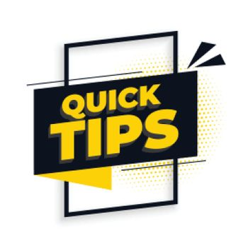 Quick helpful tips advice on white background