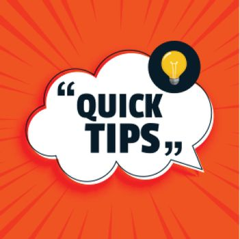 Quick tips advice with lightbulb on orange background