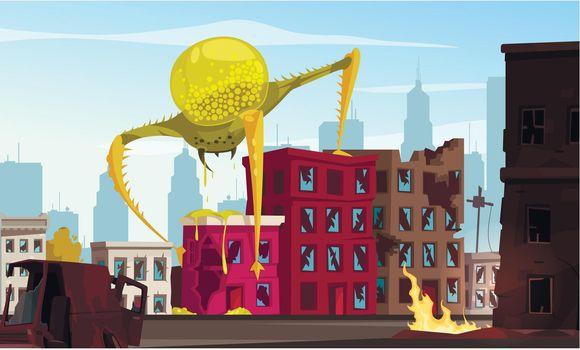 Attacking Monster Cartoon Illustration