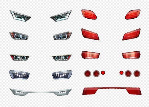 Car Headlights Realistic Transparent Icon Set