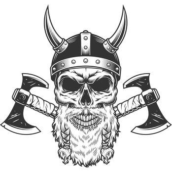 Scandinavian viking skull in horned helmet