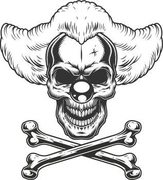 Vintage monochrome scary evil clown skull