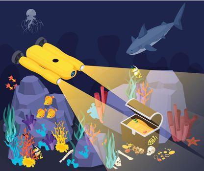 Underwater Vehicles Machines Isometric Composition
