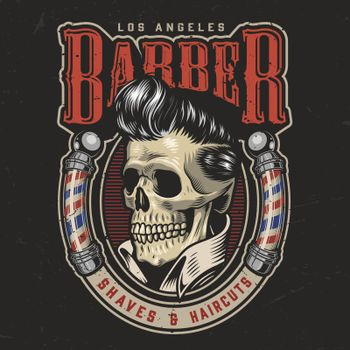 Colorful barbershop round logotype