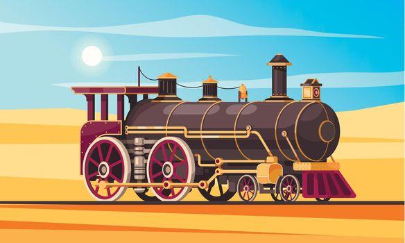 Steam Locomotive Desert Composition