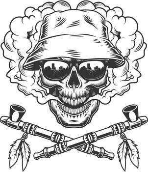 Skull in panama hat and sunglasses