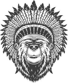Vintage indian chief bear head