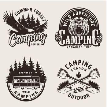 Vintage summer camping emblems