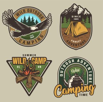 Colorful summer adventure labels
