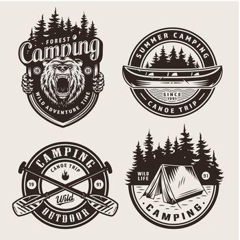 Vintage monochrome camping logotypes