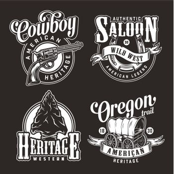 Vintage wild west monochrome logos