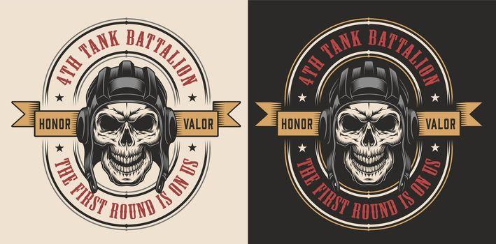 Skull in tank military helmet
