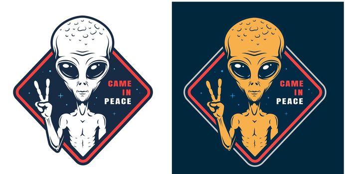 Alien showing peace sign colorful label
