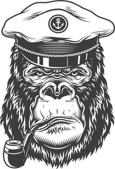 Serious gorilla in monochrome style