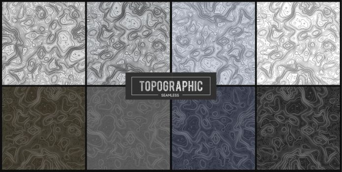 Set of 8 Topographic map contour backgrounds. Topo map with elevation. Contour map vector. Geographic World Topography map grid abstract vector illustration .