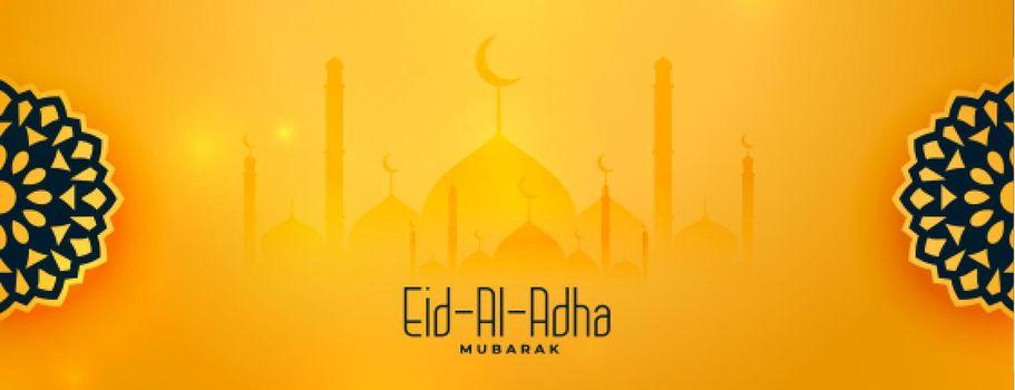 beautiful eid al adha yellow decorative banner