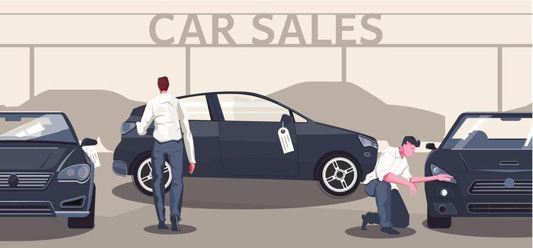 Car Sales Flat Composition