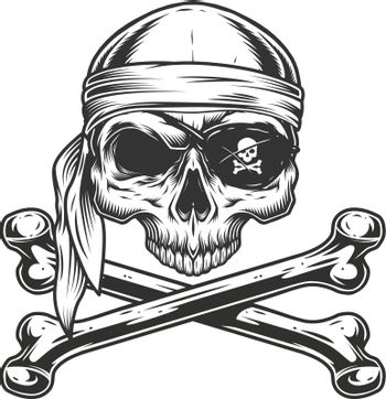 Vintage pirate skull without jaw
