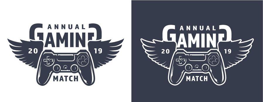 Winged gamepad or joystick emblem