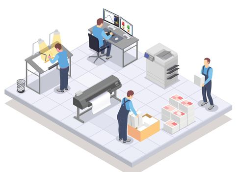 Print Service Isometric Composition