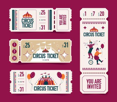 Circus Tickets Realistic Set