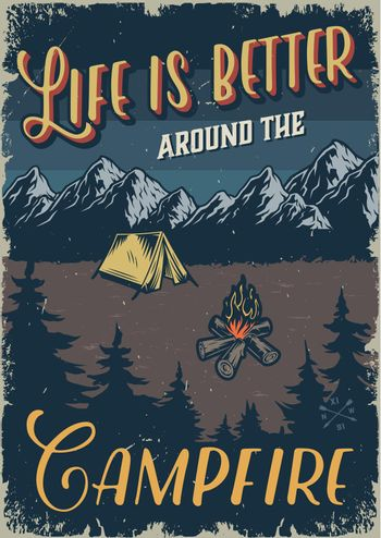 Vintage outdoor recreation colorful template