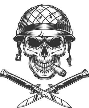 Soldier skull smoking cigar in helmet