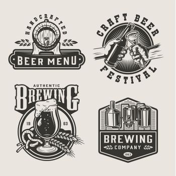 Vintage brewery monochrome labels