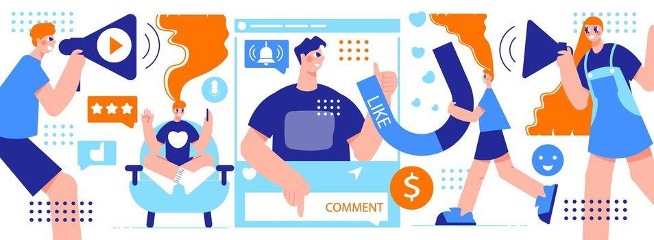 Influencer Marketing Horizontal Illustration
