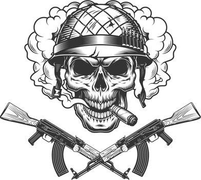 Skull in soldier helmet smoking cigar