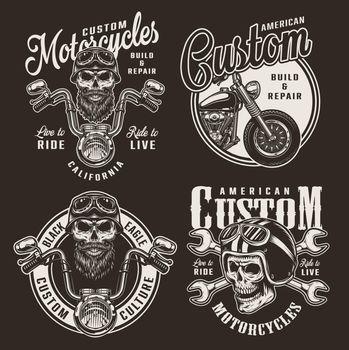 Vintage custom motorcycle logos