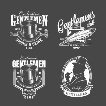 Vintage monochrome gentleman club labels