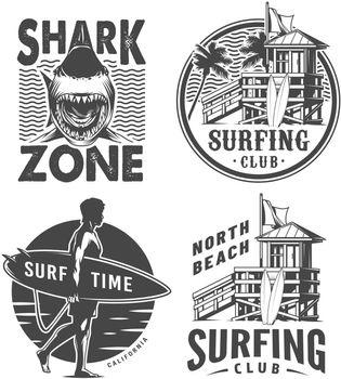 Vintage surf logos monochrome set