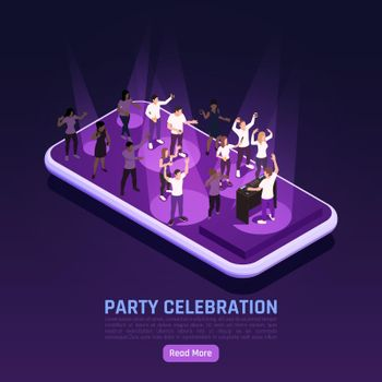 Smartphone Party Isometric Background