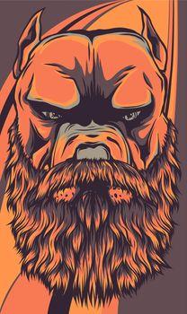 vector illustration of head pitbull with beard