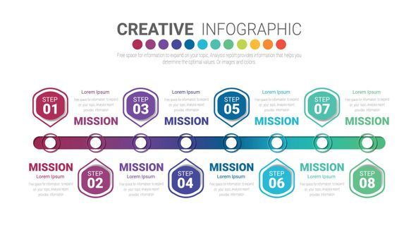 nfographic design template with numbers 8 option