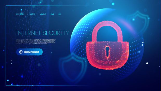 Cyber security red lock. Sphere shield internet protection. Antivirus Background. EPS 10