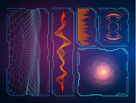 Military green radar. Screen with target. Futuristic HUD interface.Vector illustration.