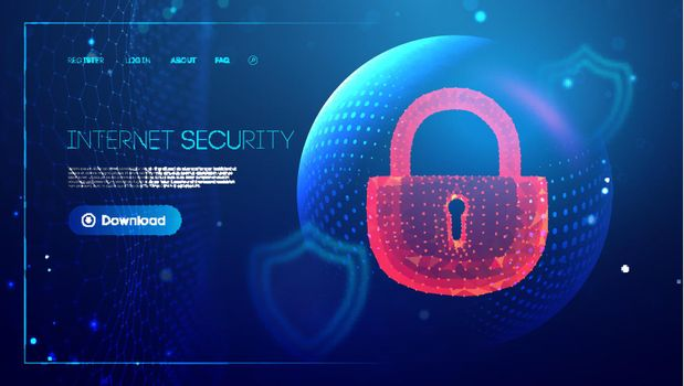 Low poly lock data security concept. Cyber security computer network. Cyber crime vector illustration. digital lock vector illustration EPS 10.
