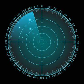 Military green radar screen with target. Futuristic HUD interface. Stock vector illustration.