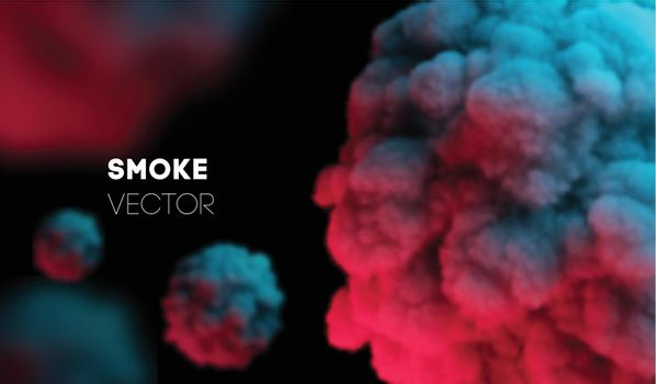 Light colorful smoke. Vector background EPS 10. Mist and smog. Backdrop scent fog and realistic smoke. Pink dust explosion, steam pink cosmic color effect.
