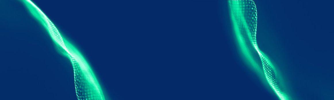 Abstract blue chemistry medical design digital technology background. Futuristic technology dark blue wave sound visualisation.