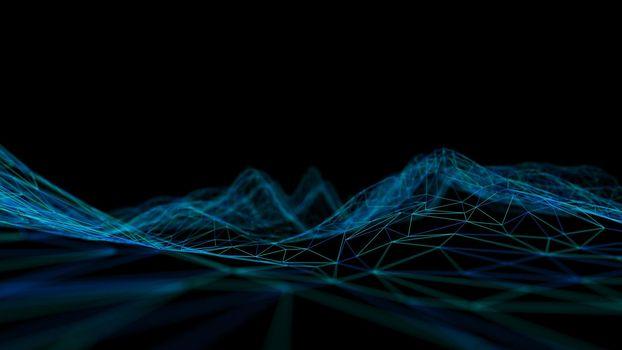 Blue technology background. Blockchain technology 3d render.