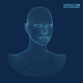 Ai digital brain. Artificial intelligence concept. Human head in robot digital computer interpretation. Wireframe head concept.