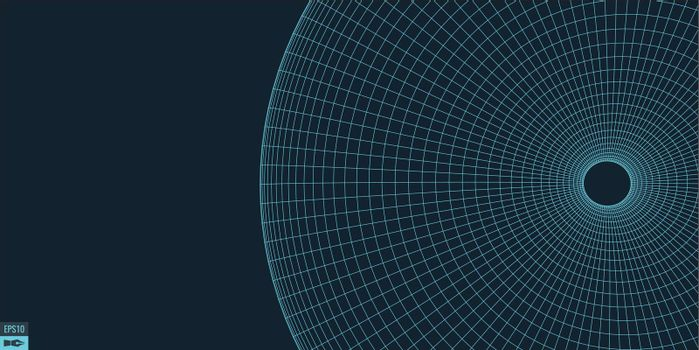 Wireframe vector torus background. Wormhole concept. Funnel perspective grid. Vector Illustration.