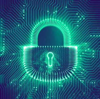 Coputer internet cyber security background. Cyber crime illustration. digital lock
