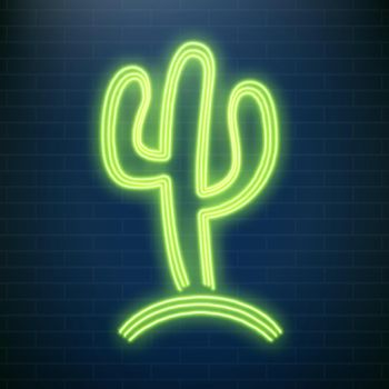 Neon cactus lamps, beach party led tequila sign. Mexican party vector illustration.
