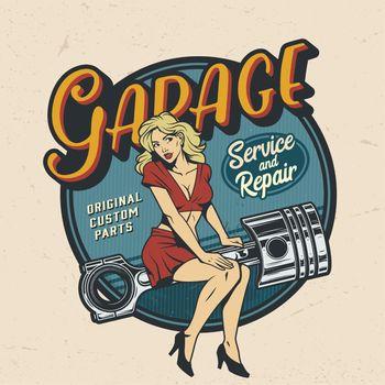 Vintage colorful garage repair service logo